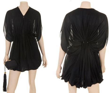 Achado: Vestido de jérsei de seda preto com zíper na frente para controlar o decote e ajuste na cintura (talie NK)