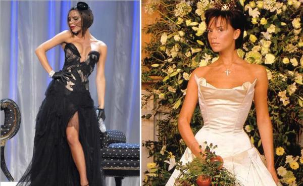 Victoria Beckham no Desfile da Victoria Secret e seu vestido de casamento.