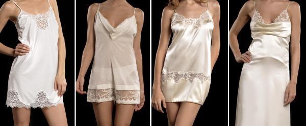 Camisola de algodão, de seda e de cetim.